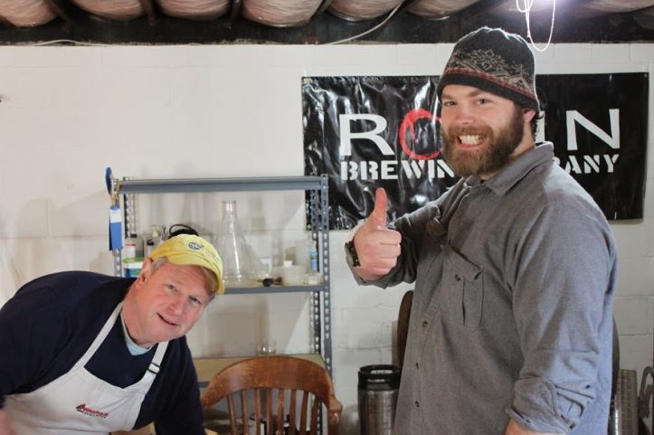 Kevin, the AHBC Barrelmeister, letting us know the beer is ready, and Don, getting ready to shuck some oysters.